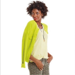 CABI #5011 Loren Lime Green Knit Sweater Cardigan